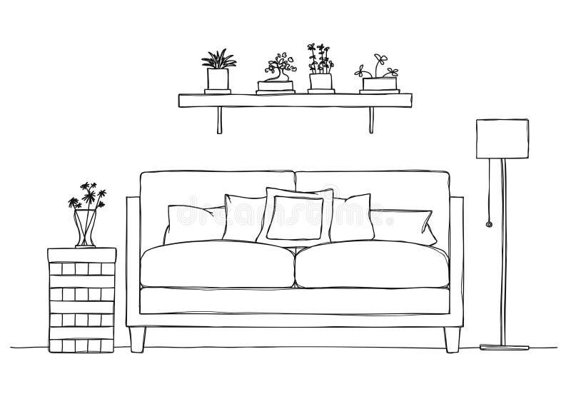 Wnętrze w nakreślenie stylu Kanapa, wezgłowie stół, podłogowa lampa i półka z roślinami, ilustracji