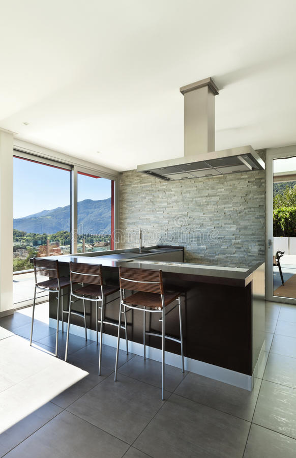 Wnętrze, widok kuchnia zdjęcia stock