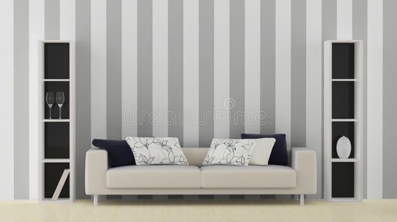 Wnętrze z białą kanapą ilustracji