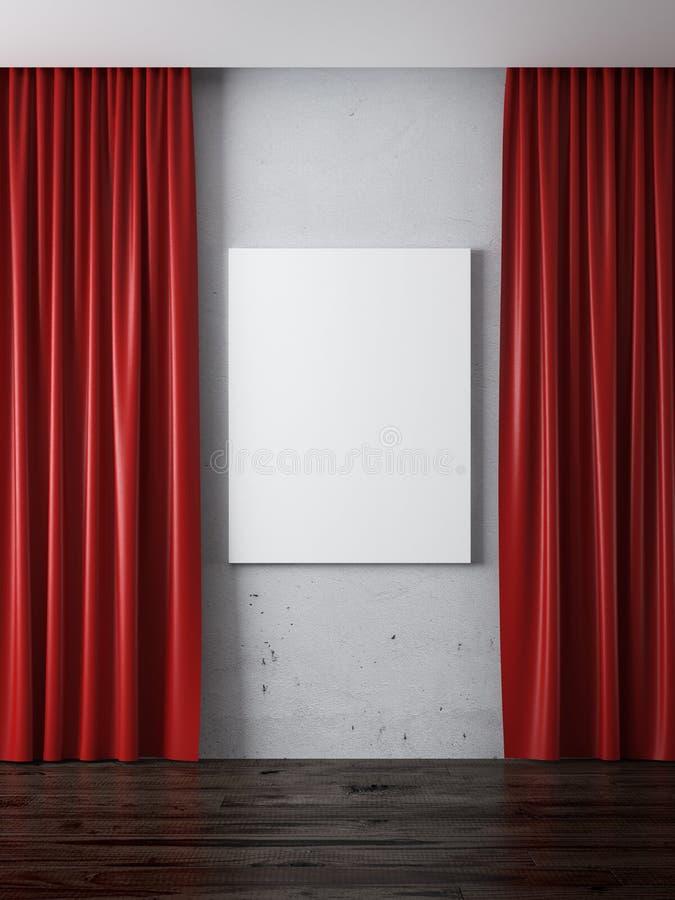 Wnętrze z czerwonymi zasłonami i puste miejsce ramą ilustracja wektor