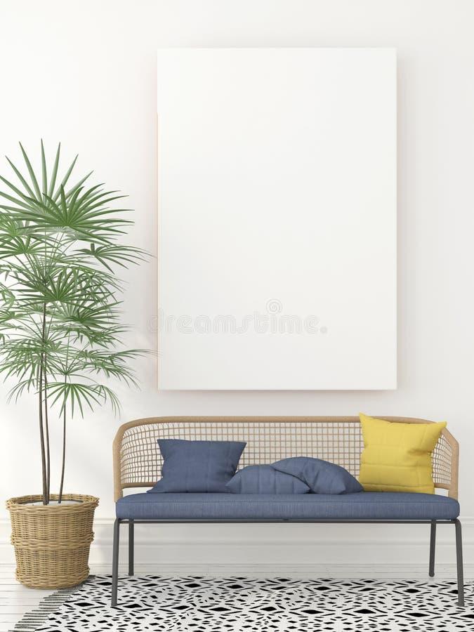 Wnętrze z elegancką kanapą i kanwą royalty ilustracja