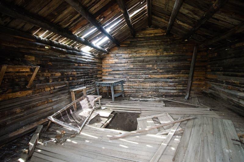 Wnętrze zaniechany budynek blisko górnika zachwyta, Wyoming, poprzedni górniczy huku miasteczko obrazy stock