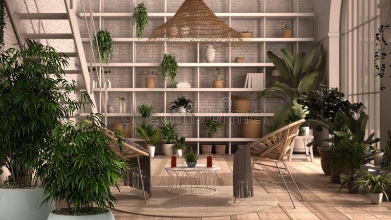 Wnętrze Zen z bambusową rośliną ziemniaczaną, koncepcja naturalnego projektowania wnętrz, nowoczesny konserwator, ogród zimowy, s ilustracja wektor