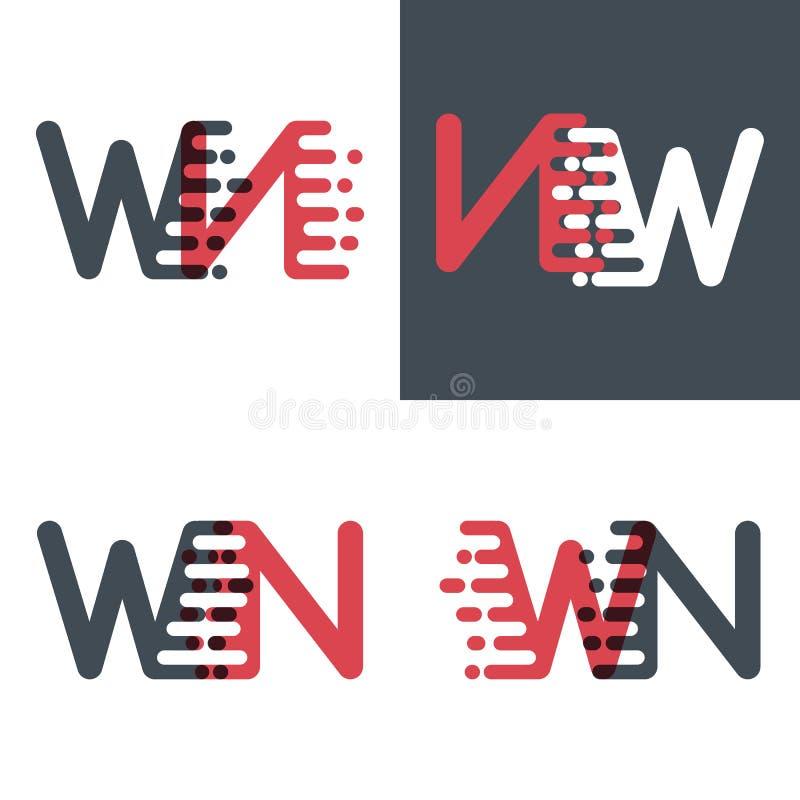 WN marque avec des lettres le logo avec le rose de vitesse d'accent et gris-foncé illustration libre de droits