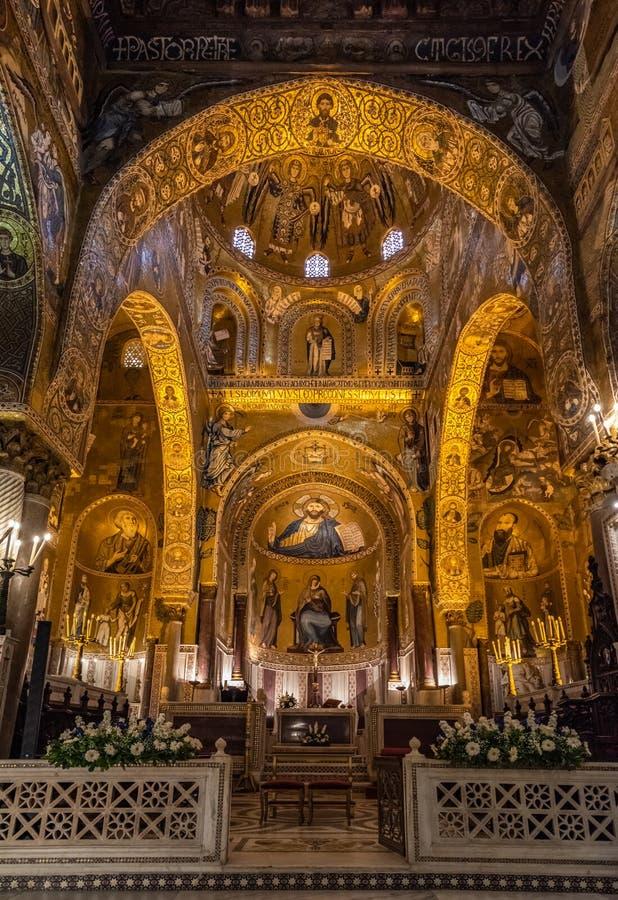 Wn?trze palatyn kaplica Palermo, Sicily, W?ochy zdjęcia royalty free