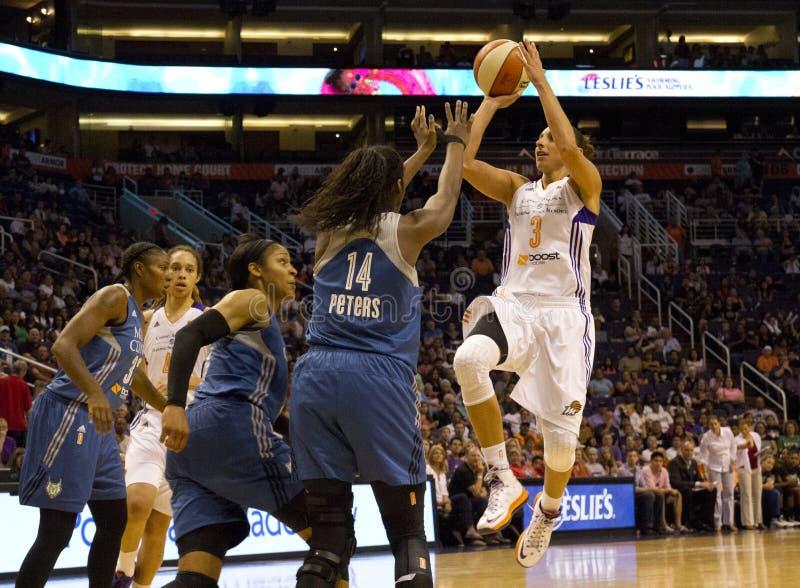 WNBA菲尼斯水星打明尼苏达天猫座 图库摄影