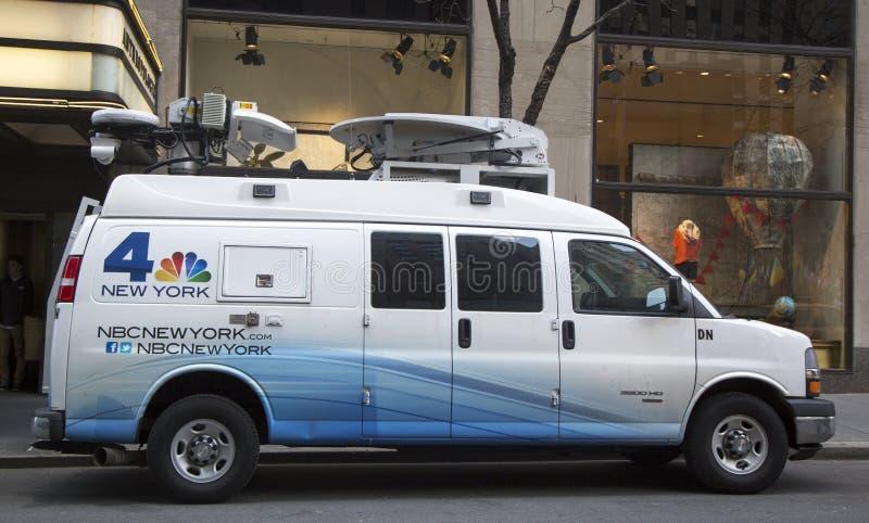 WNBC Channel 4 van in midtown Manhattan stock photo