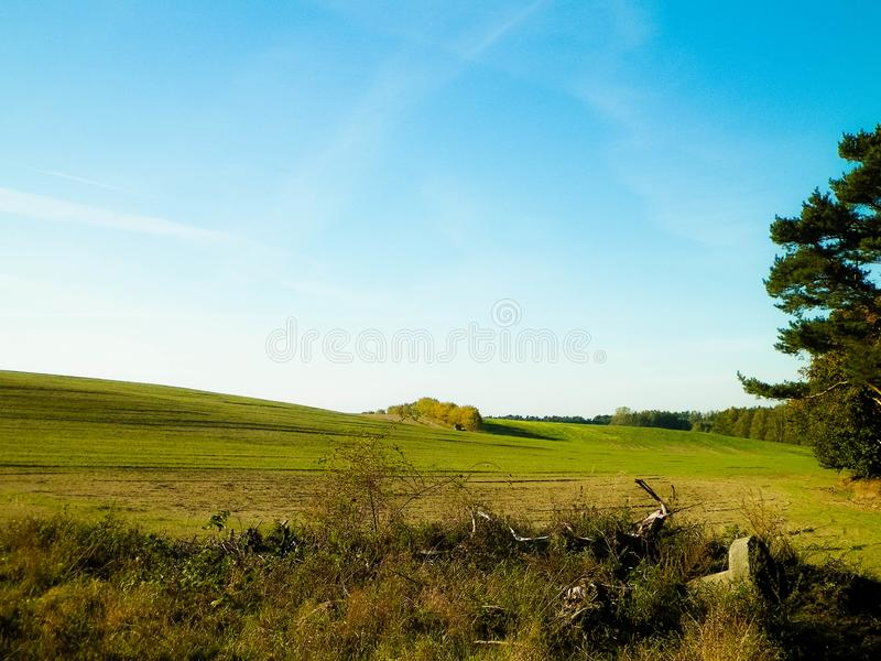 End of summer - autumn trees and fields. Mechelinki, Poland. End of summer - autumn trees and fields. Polish nature. copy space on blue sky. Mechelinki, Poland stock photo