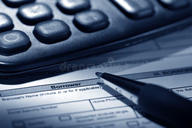 wniosek o kredytu hipotecznego nieruchomości mieszkalny długopisy real zdjęcia stock