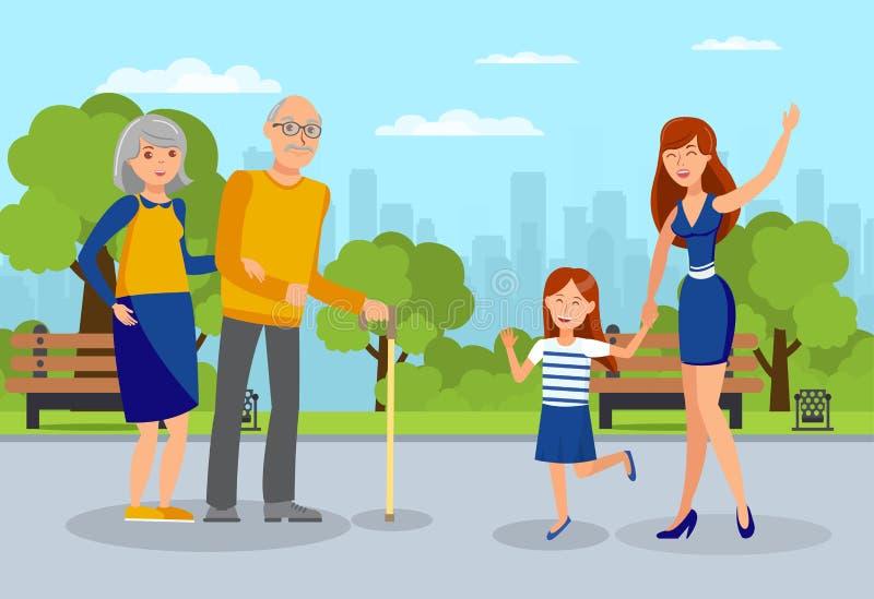 Wnuczki spotkania dziadków mieszkania ilustracja ilustracja wektor