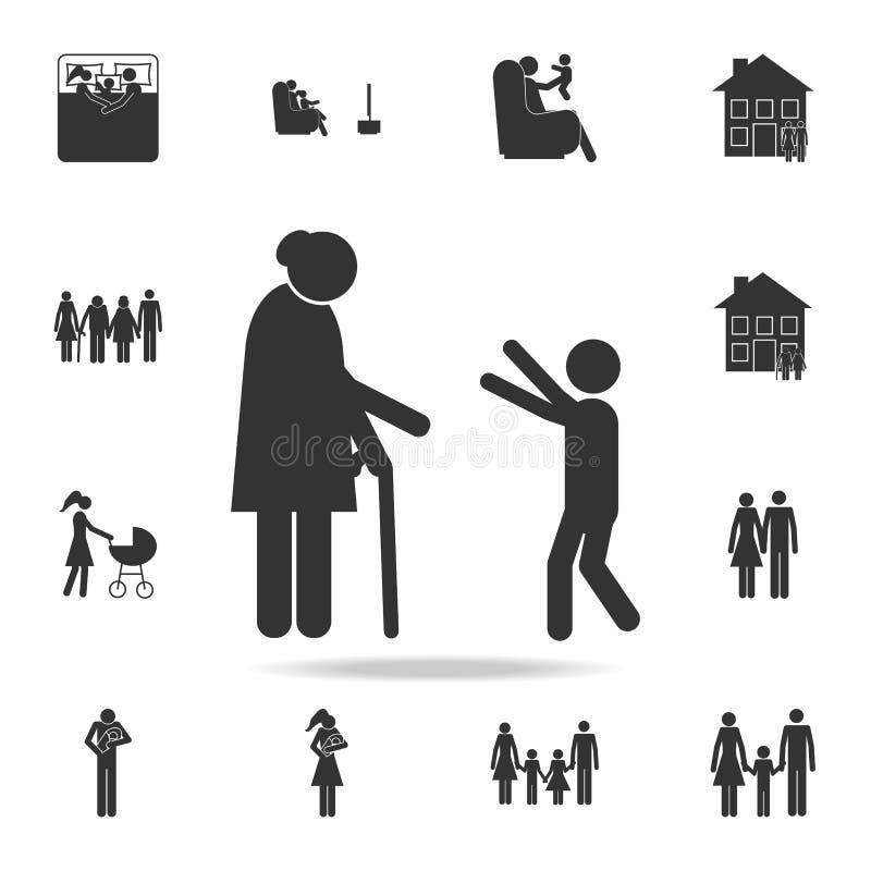 wnuk ściska babci ikonę Szczegółowy set rodzinne ikony Premia graficzny projekt Jeden inkasowe ikony dla stron internetowych, my ilustracji