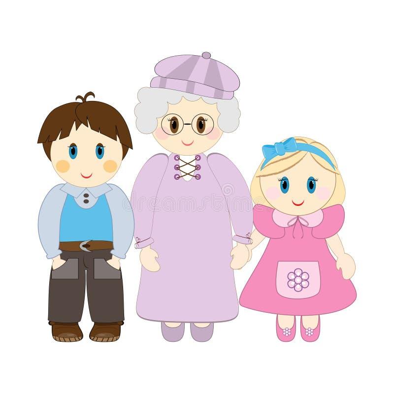 wnuk babcia ilustracji