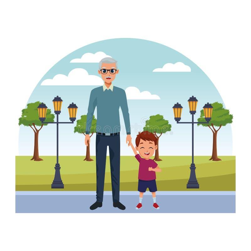 Wnuk i dziad ręk kreskówki royalty ilustracja