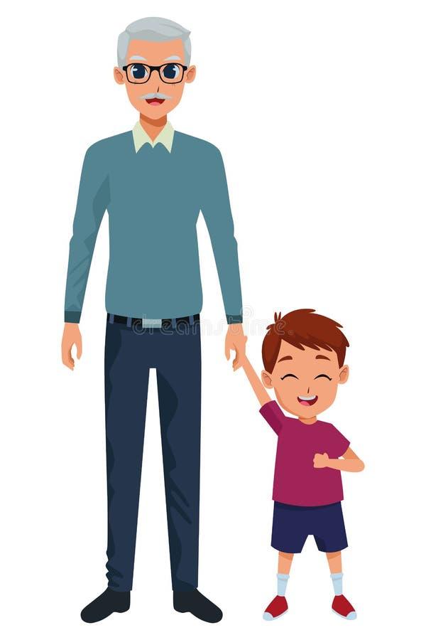 Wnuk i dziad ręka ilustracja wektor