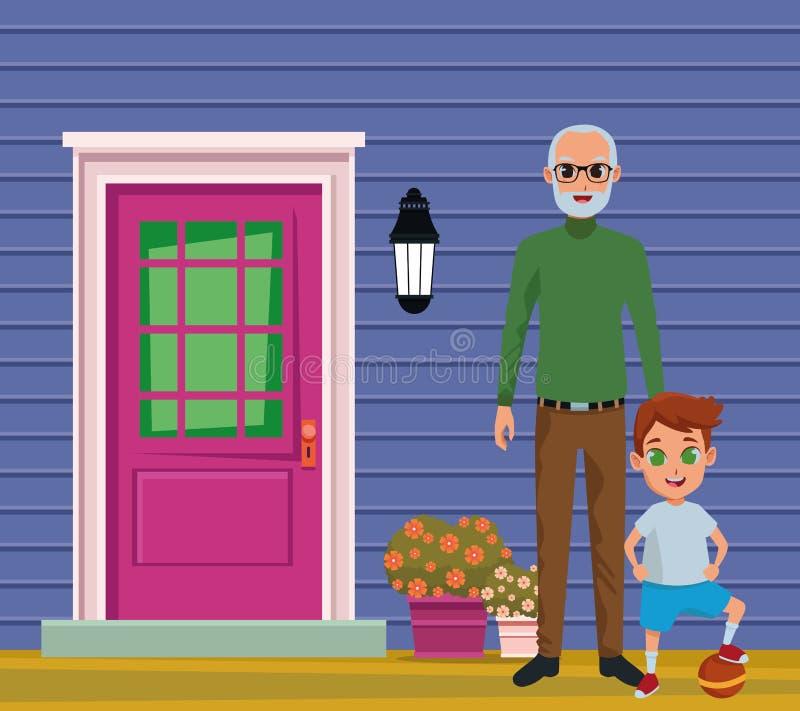 Wnuk i dziad ręka royalty ilustracja