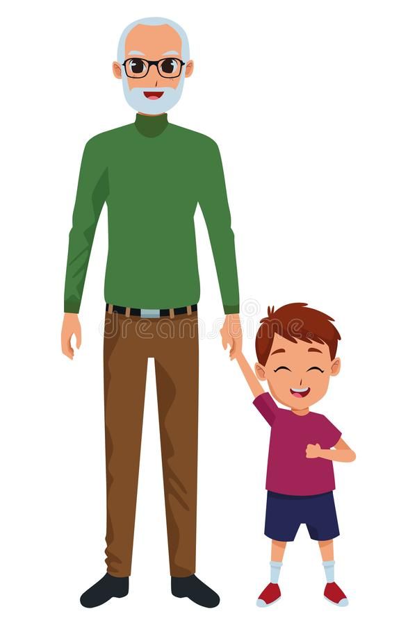 Wnuk i dziad ręka ilustracji