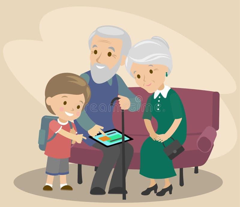 Wnuk uczy dziadu i babci używać pastylkę Pomaga starszym osobom nowożytne technologie wektor ilustracji