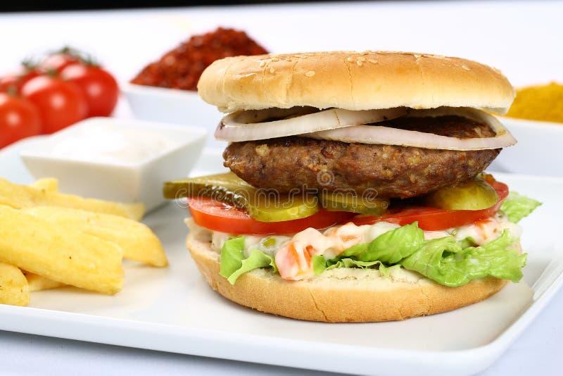 Wołowina Domowej roboty hamburger fotografia stock
