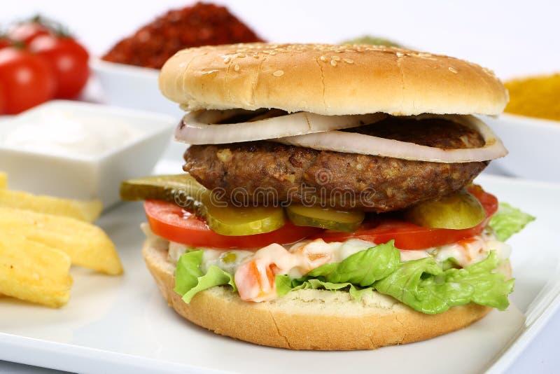 Wołowina Domowej roboty hamburger obrazy royalty free