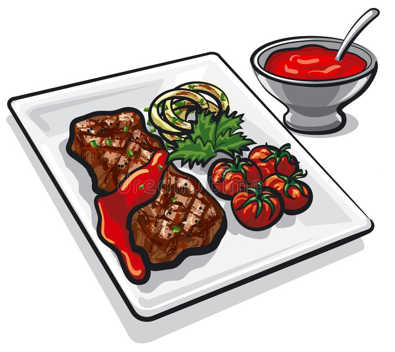 wołowina grillowany stek royalty ilustracja
