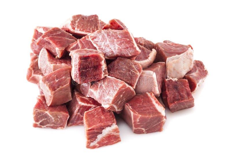 Wołowina gulaszu mięso Surowy zdjęcia royalty free