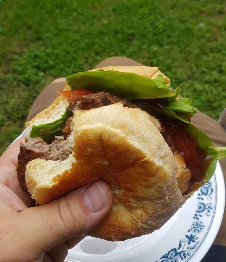 Wołowina hamburgery przy parkiem zdjęcia stock