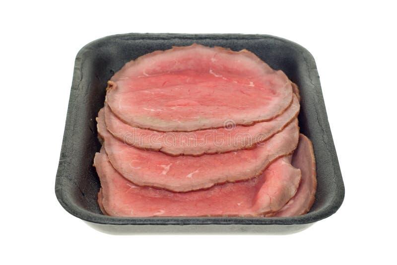 wołowina odizolowane pieczeń plasterki obraz stock