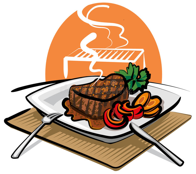 wołowina piec na grillu stek ilustracja wektor