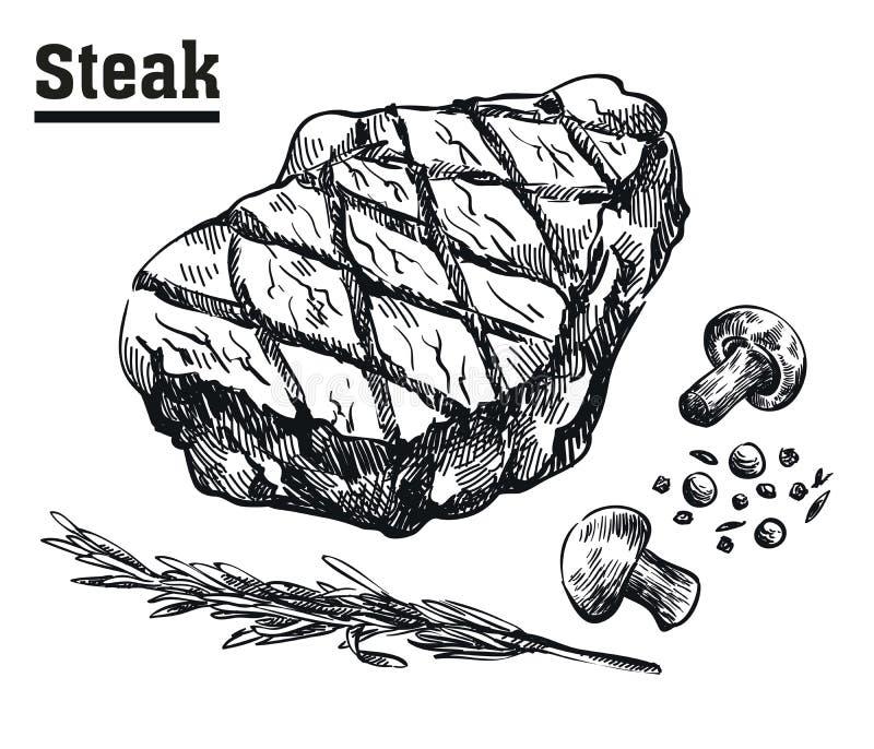Wołowina stek Mięso i pikantność Nakreślenia rysujący ręką ilustracji
