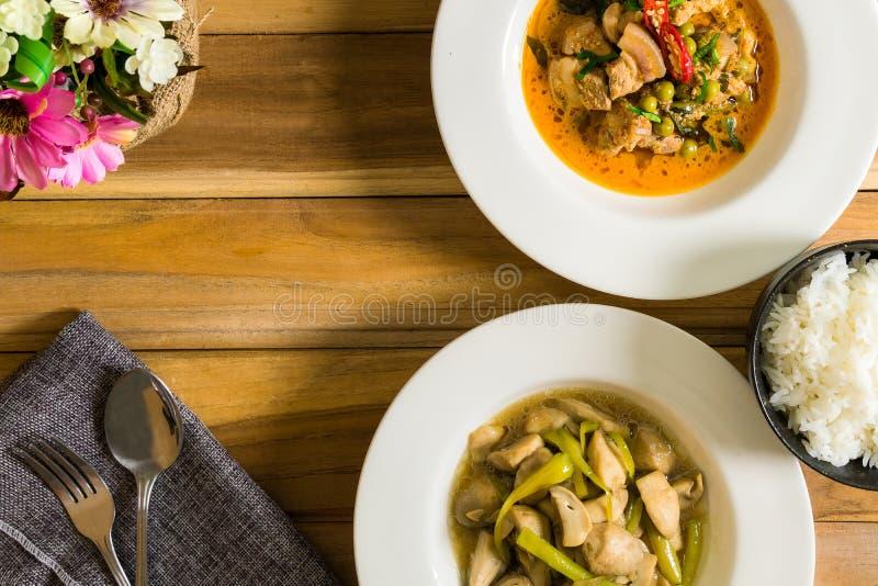 Wołowina, wieprzowina i smażyć pieczarki Z jeden filiżanką ryż, obrazy stock