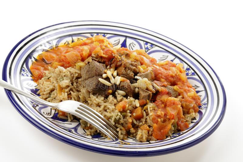 Wołowiny kabsa posiłek z kumberlandem zdjęcie stock