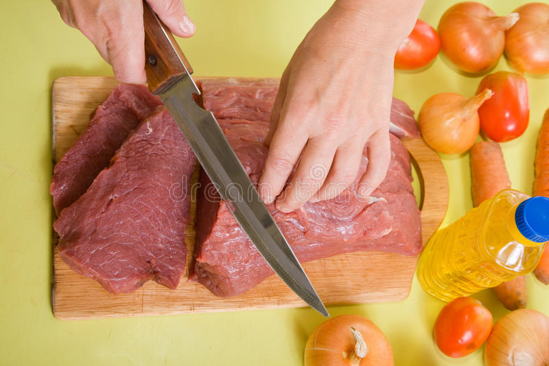 wołowiny kucbarskie rozcięcia f ręki obraz stock