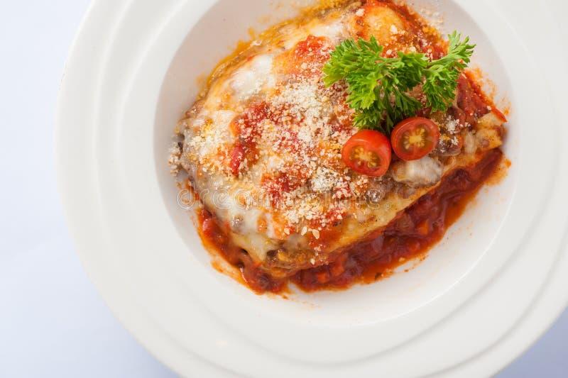 Wołowiny lasagna z chesse fotografia royalty free