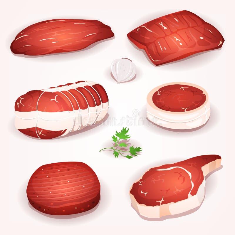 Wołowiny mięsa set ilustracja wektor