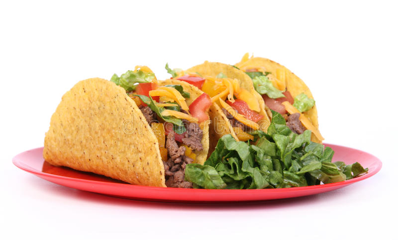 Wołowiny tacos talerz fotografia stock