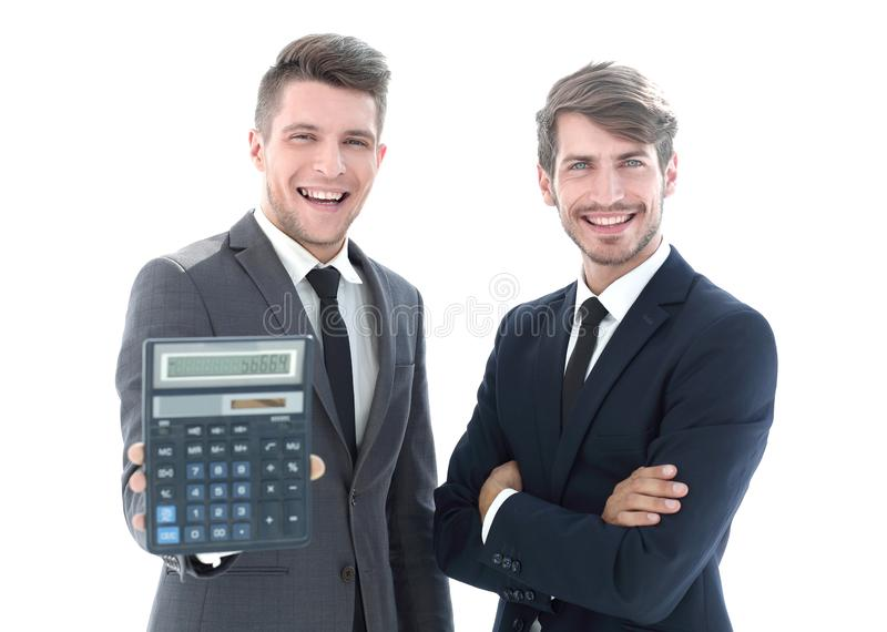 Wo accountants stand with a calculator. Two accountants stand with a calculator. a profit concept, a positive balance royalty free stock photo