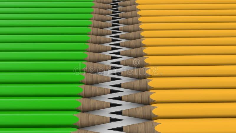 Wo ror av blyertspennor i gröna och gula färger stock illustrationer