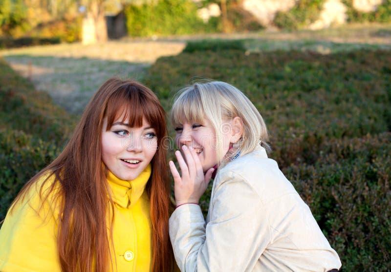 Wo teenage girls outdoors. Portrait of two teenage girls outdoors stock photos
