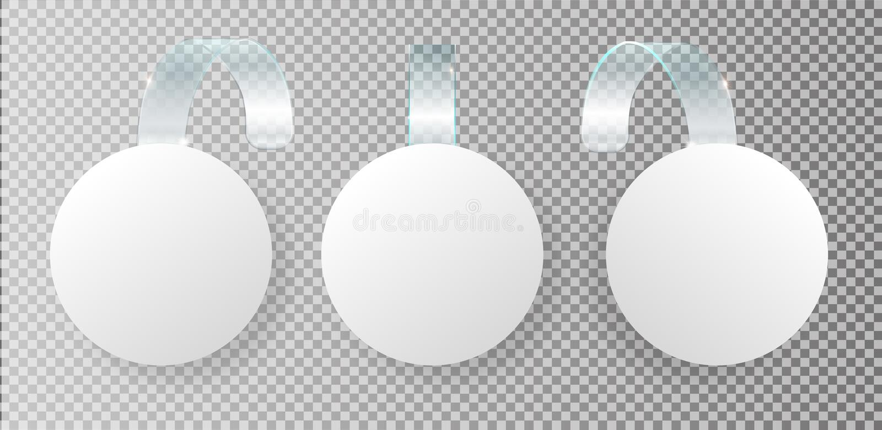 Wobbler de vente de publicité sur la rayure transparente pliée Étiquette ronde blanche de point pour des wobblers de ventes de su illustration de vecteur