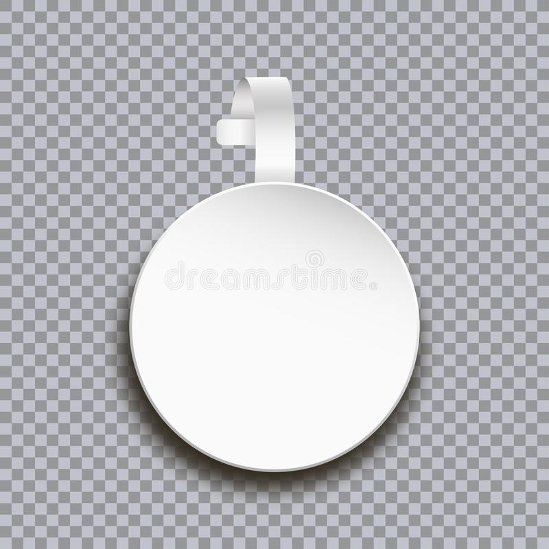 Wobbler mockup on transparent background. Blank white round paper sticker for price. Advertising plastic self-adhesive banner. royalty free illustration