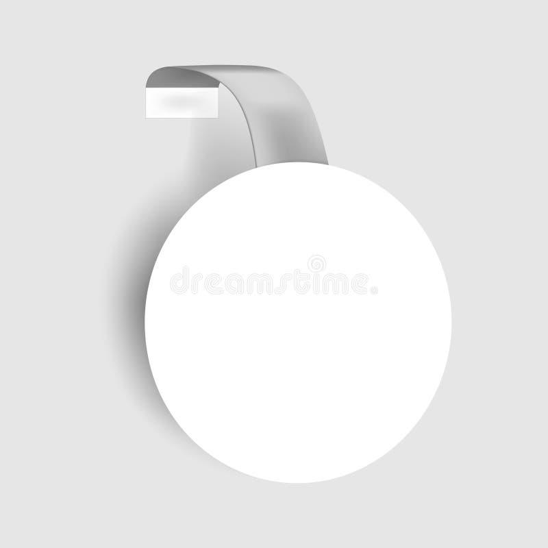 Wobbler redondo da prateleira, modelo do vetor Dangler circular vazio branco, molde ilustração royalty free