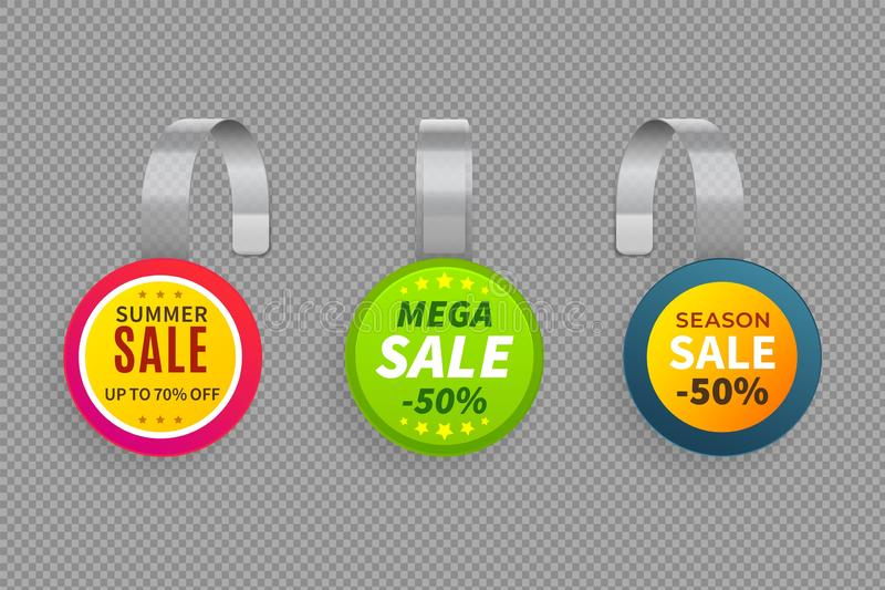 Wobbler sale. 3D template wobblers supermarket bended. Discount store plastic tags vector isolated mockup set. Wobbler sale. 3D template bended wobblers royalty free illustration