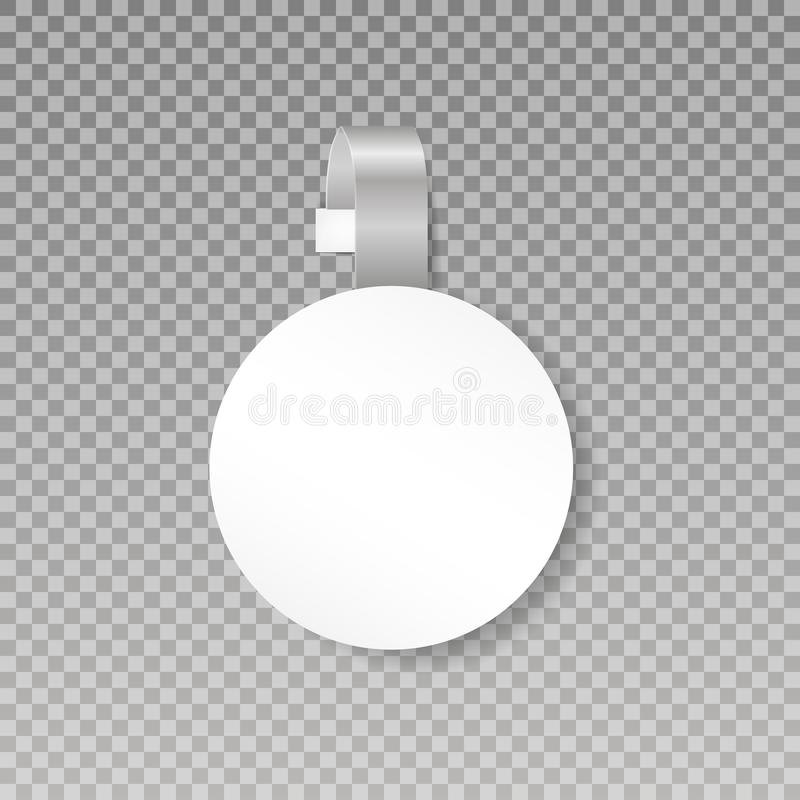 Wobbler or sales point tag mock up. Blank White Round Papper Plastic Advertising Price Wobbler Front view. on transparent. Background. Vector illustration. Eps royalty free illustration
