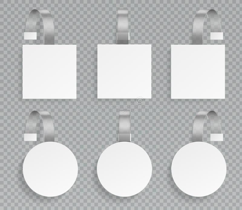 Wobbler szablon Wobblers mockup wskazuje ceny 3d etykietek plastikowe etykietki reklamuje ceny dyskontową promocyjną sprzedaż ilustracja wektor