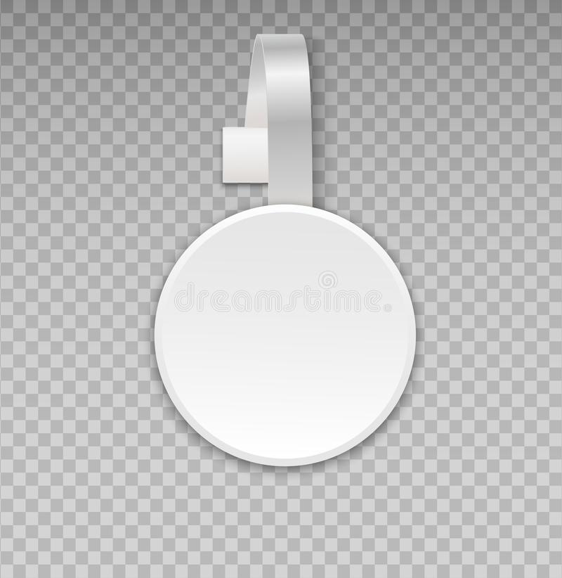 Wobblermodell med genomskinlig bakgrund Advertizingen för tomt vitt papper för rund form för vektor shoppar den plast- pris- elle vektor illustrationer