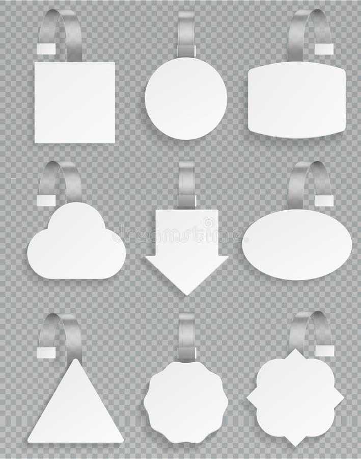Wobblers blancs Ensemble blanc en plastique de vente au détail de promotion de remise d'étiquette de wobbler de vente de publicit illustration libre de droits