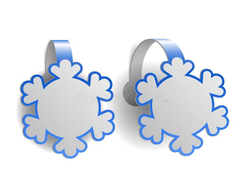 Wobblers bleus de la publicité formés comme des flocons de neige illustration stock