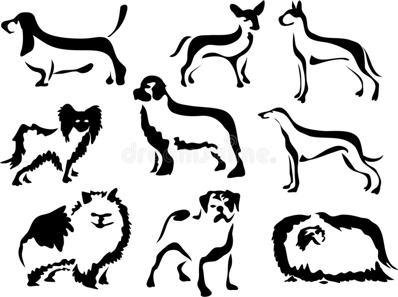 Wobbly Brush Dogs vector illustration