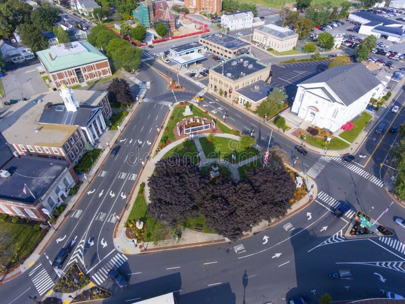Woburn Common and City Hall, Massachusetts, USA. Woburn Common and City Hall aerial view in downtown Woburn, Massachusetts, USA stock photography