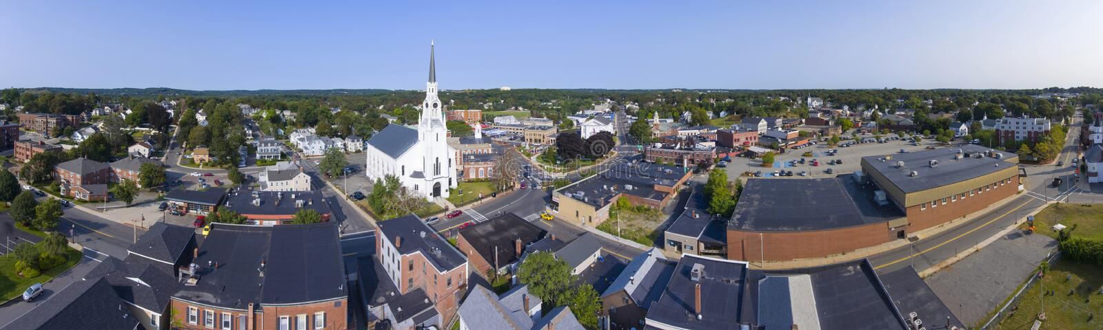 Woburn downtown aerial view, Massachusetts, USA. Woburn First Congregational Church panorama aerial view in downtown Woburn, Massachusetts, USA royalty free stock photography